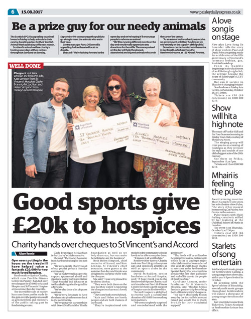 Paisley Daily Express features Charity Donation from Pro-life fitness centre